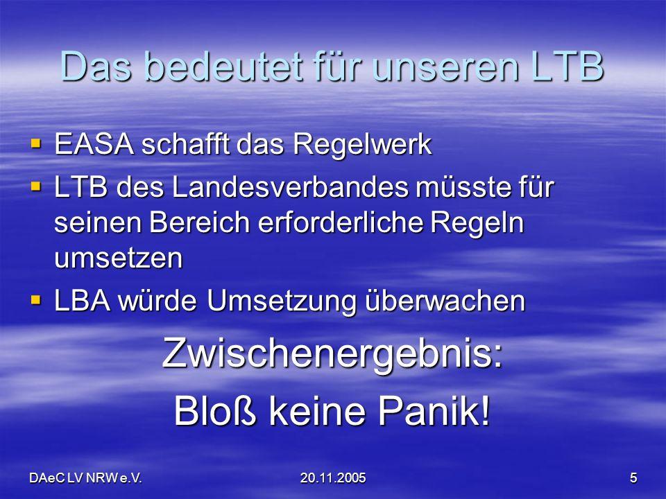 DAeC LV NRW e.V.20.11.20055 Das bedeutet für unseren LTB EASA schafft das Regelwerk EASA schafft das Regelwerk LTB des Landesverbandes müsste für sein
