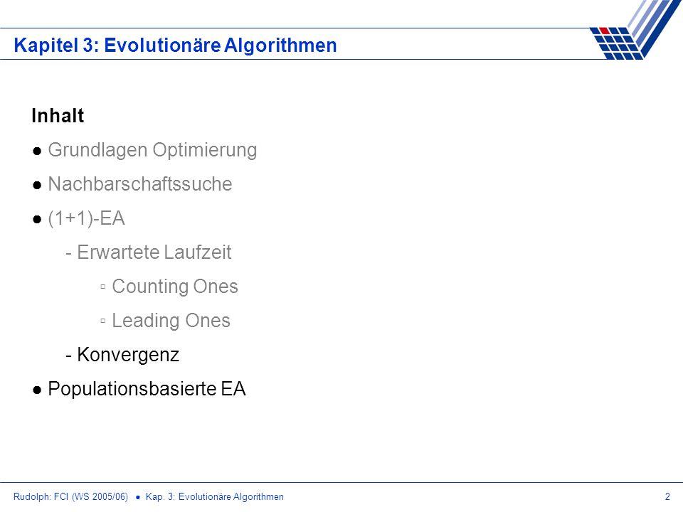 Rudolph: FCI (WS 2005/06) Kap. 3: Evolutionäre Algorithmen2 Kapitel 3: Evolutionäre Algorithmen Inhalt Grundlagen Optimierung Nachbarschaftssuche (1+1