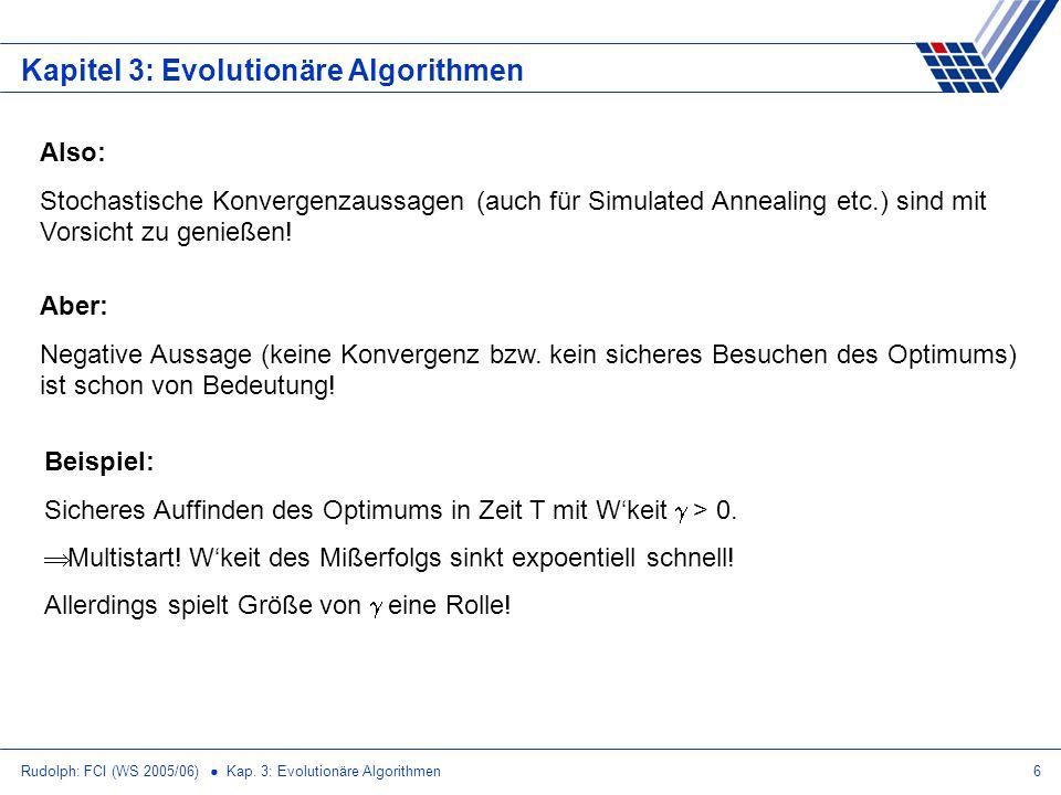 Rudolph: FCI (WS 2005/06) Kap. 3: Evolutionäre Algorithmen6 Kapitel 3: Evolutionäre Algorithmen Aber: Negative Aussage (keine Konvergenz bzw. kein sic