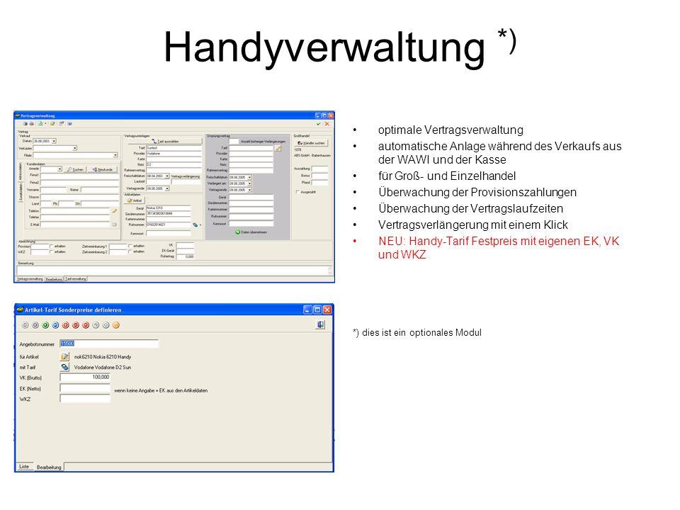Handyverwaltung *) optimale Vertragsverwaltung automatische Anlage während des Verkaufs aus der WAWI und der Kasse für Groß- und Einzelhandel Überwach