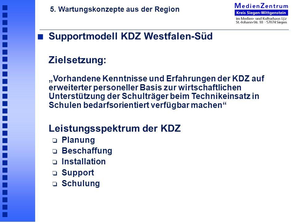 n Supportmodell KDZ Westfalen-Süd Zielsetzung: Vorhandene Kenntnisse und Erfahrungen der KDZ auf erweiterter personeller Basis zur wirtschaftlichen Un