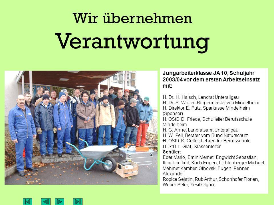Das Jungarbeiterprojekt der Staatlichen Berufsschule Mindelheim Finanziell unterstützt von der Sparkasse Mindelheim