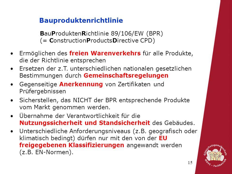 15 Bauproduktenrichtlinie BauProduktenRichtlinie 89/106/EW (BPR) (= ConstructionProductsDirective CPD) Ermöglichen des freien Warenverkehrs für alle Produkte, die der Richtlinie entsprechen Ersetzen der z.T.