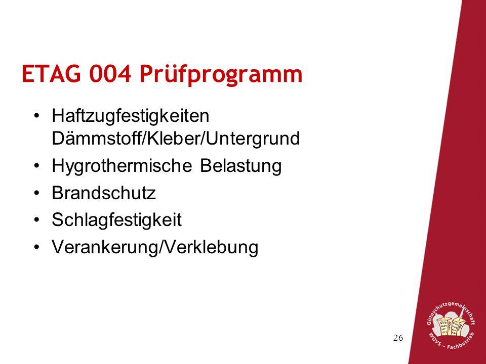 26 ETAG 004 Prüfprogramm Haftzugfestigkeiten Dämmstoff/Kleber/Untergrund Hygrothermische Belastung Brandschutz Schlagfestigkeit Verankerung/Verklebung