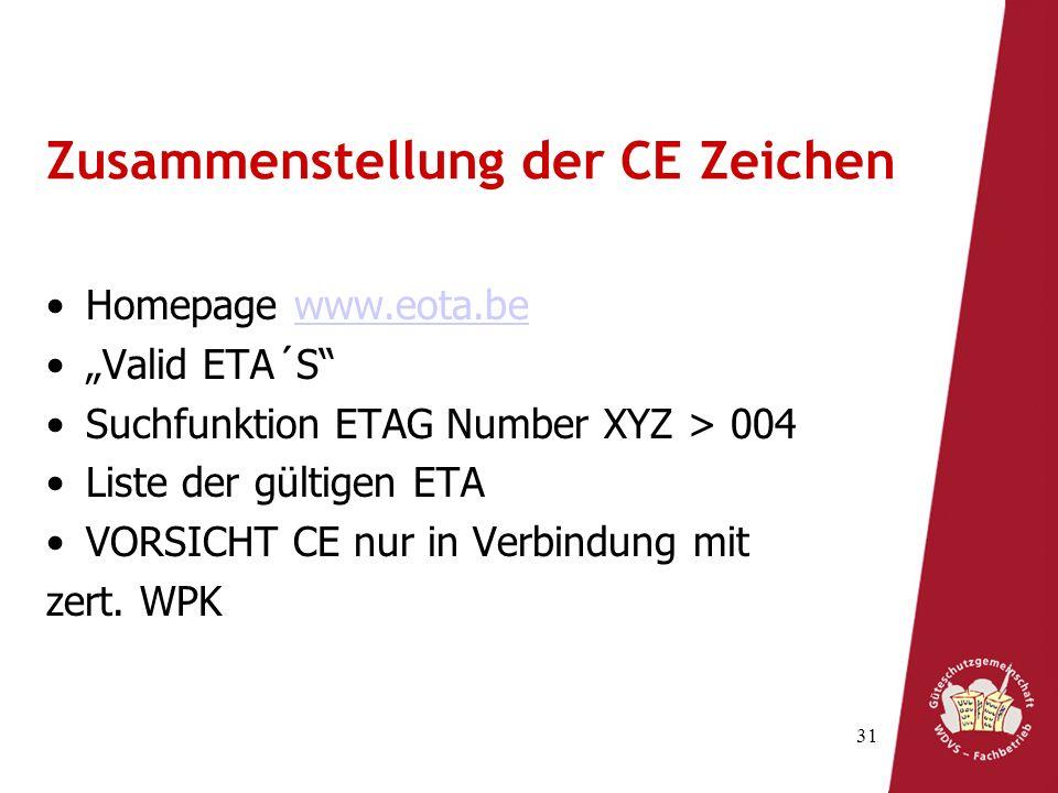 31 Zusammenstellung der CE Zeichen Homepage www.eota.bewww.eota.be Valid ETA´S Suchfunktion ETAG Number XYZ > 004 Liste der gültigen ETA VORSICHT CE nur in Verbindung mit zert.