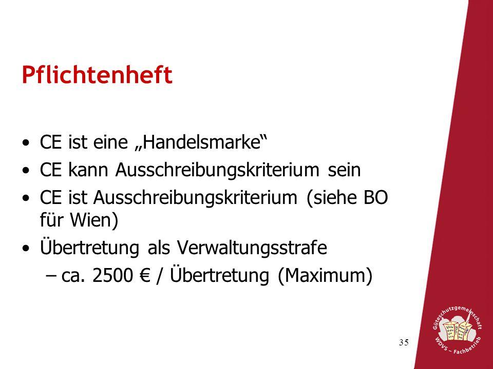 35 Pflichtenheft CE ist eine Handelsmarke CE kann Ausschreibungskriterium sein CE ist Ausschreibungskriterium (siehe BO für Wien) Übertretung als Verw
