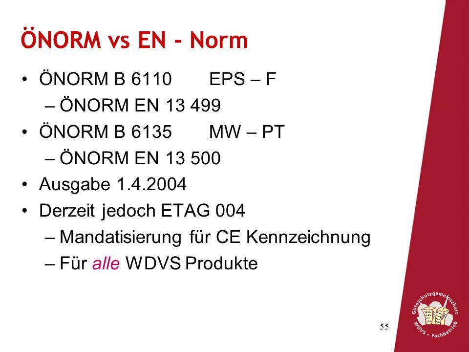 55 ÖNORM vs EN - Norm ÖNORM B 6110EPS – F –ÖNORM EN 13 499 ÖNORM B 6135MW – PT –ÖNORM EN 13 500 Ausgabe 1.4.2004 Derzeit jedoch ETAG 004 –Mandatisierung für CE Kennzeichnung –Für alle WDVS Produkte