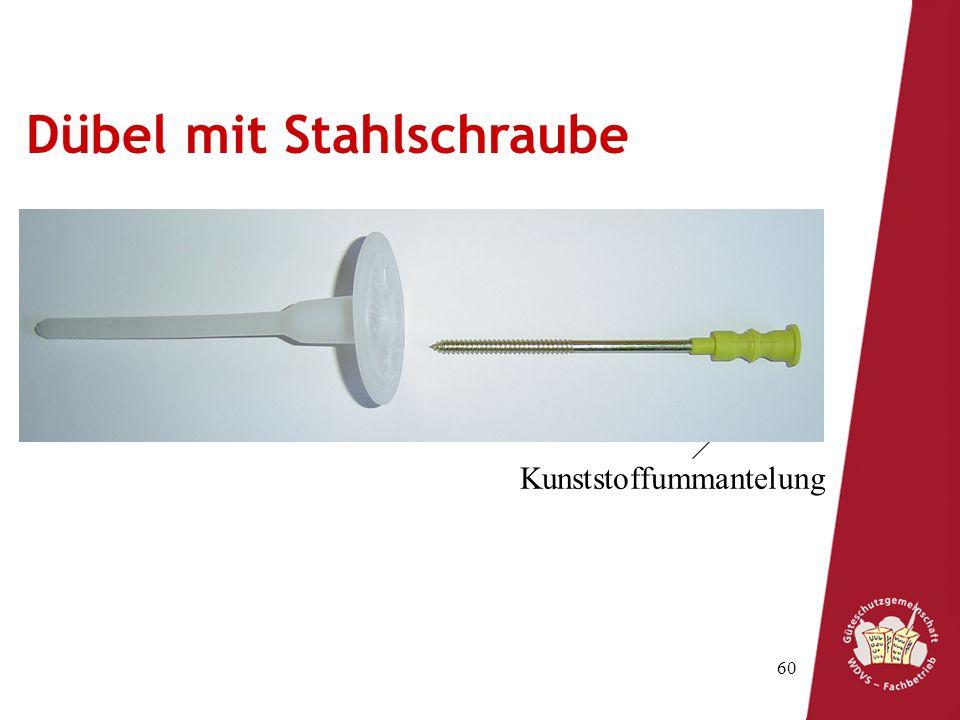 60 Spreizzone Schaft Teller Schraube Kunststoffummantelung Dübel mit Stahlschraube