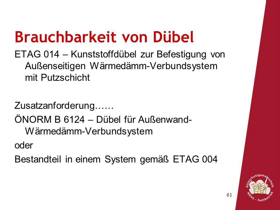 61 Brauchbarkeit von Dübel ETAG 014 – Kunststoffdübel zur Befestigung von Außenseitigen Wärmedämm-Verbundsystem mit Putzschicht Zusatzanforderung…… ÖNORM B 6124 – Dübel für Außenwand- Wärmedämm-Verbundsystem oder Bestandteil in einem System gemäß ETAG 004