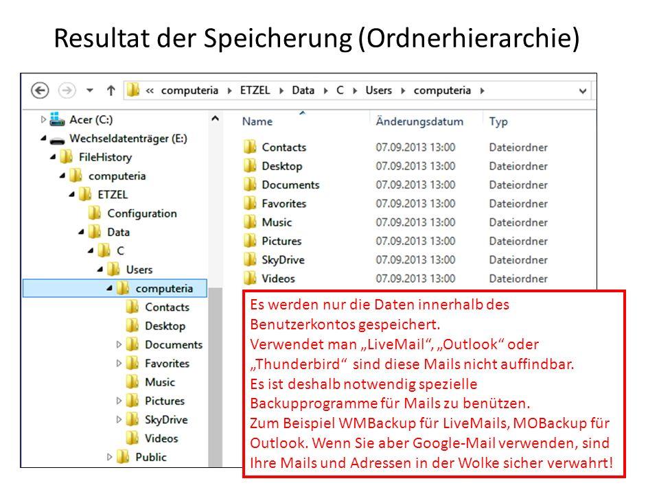 Resultat der Speicherung (Ordnerhierarchie) Es werden nur die Daten innerhalb des Benutzerkontos gespeichert. Verwendet man LiveMail, Outlook oder Thu