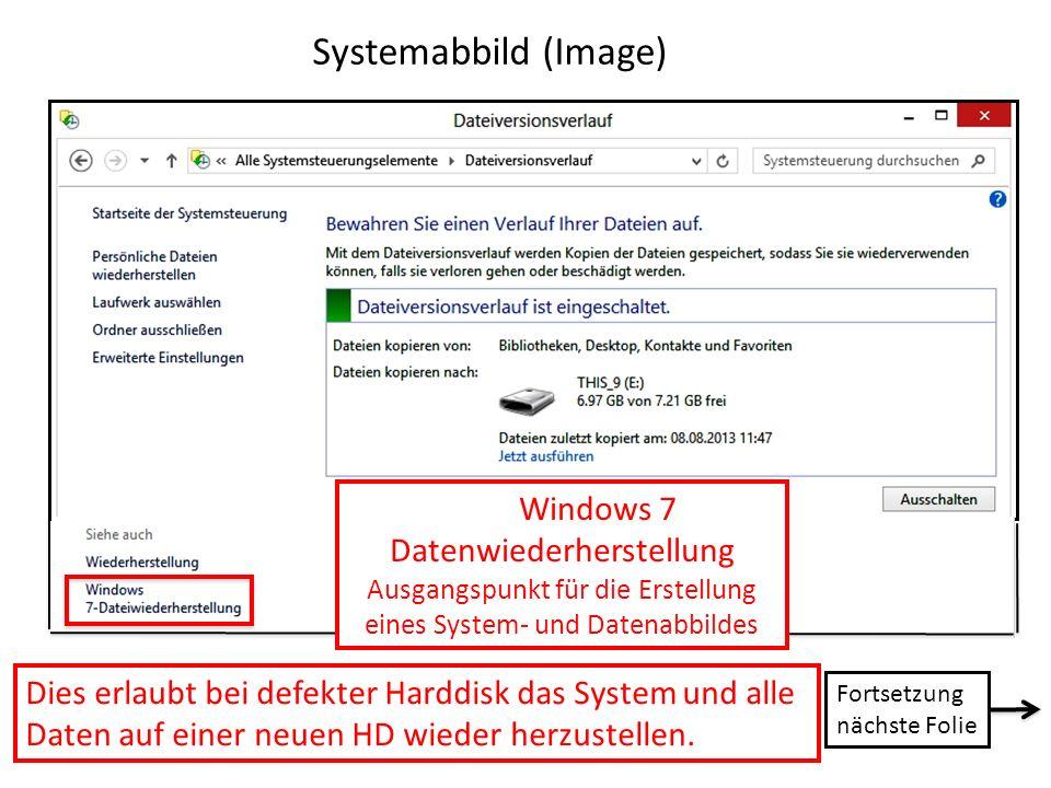 Systemabbild (Image) Windows 7 Datenwiederherstellung Ausgangspunkt für die Erstellung eines System- und Datenabbildes Dies erlaubt bei defekter Hardd