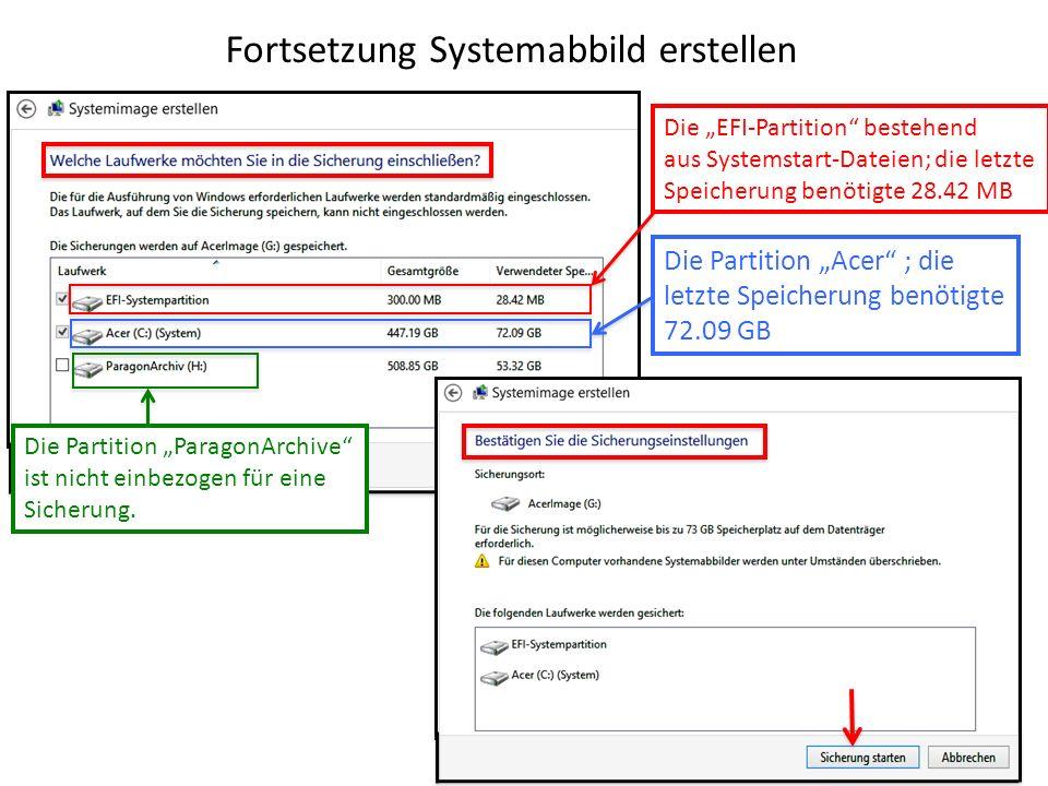 Fortsetzung Systemabbild erstellen Die Partition ParagonArchive ist nicht einbezogen für eine Sicherung. Die EFI-Partition bestehend aus Systemstart-D