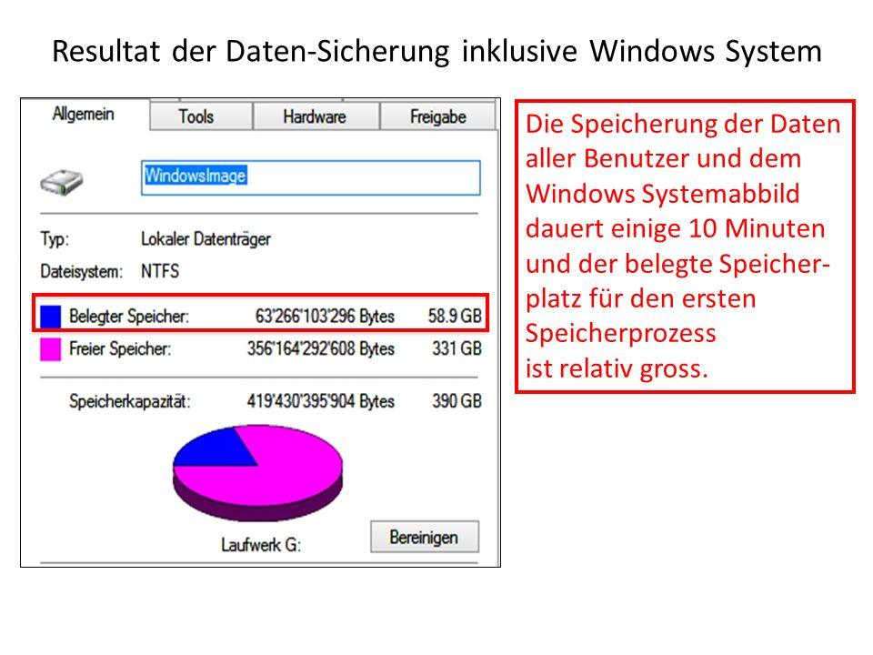 Resultat der Daten-Sicherung inklusive Windows System Die Speicherung der Daten aller Benutzer und dem Windows Systemabbild dauert einige 10 Minuten u