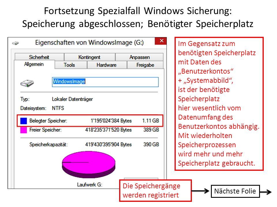 Fortsetzung Spezialfall Windows Sicherung: Speicherung abgeschlossen; Benötigter Speicherplatz Im Gegensatz zum benötigten Speicherplatz mit Daten des