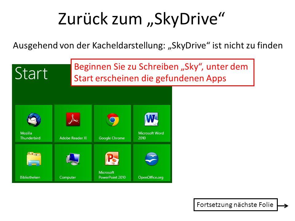 Zurück zum SkyDrive Ausgehend von der Kacheldarstellung: SkyDrive ist nicht zu finden Beginnen Sie zu Schreiben Sky, unter dem Start erscheinen die ge