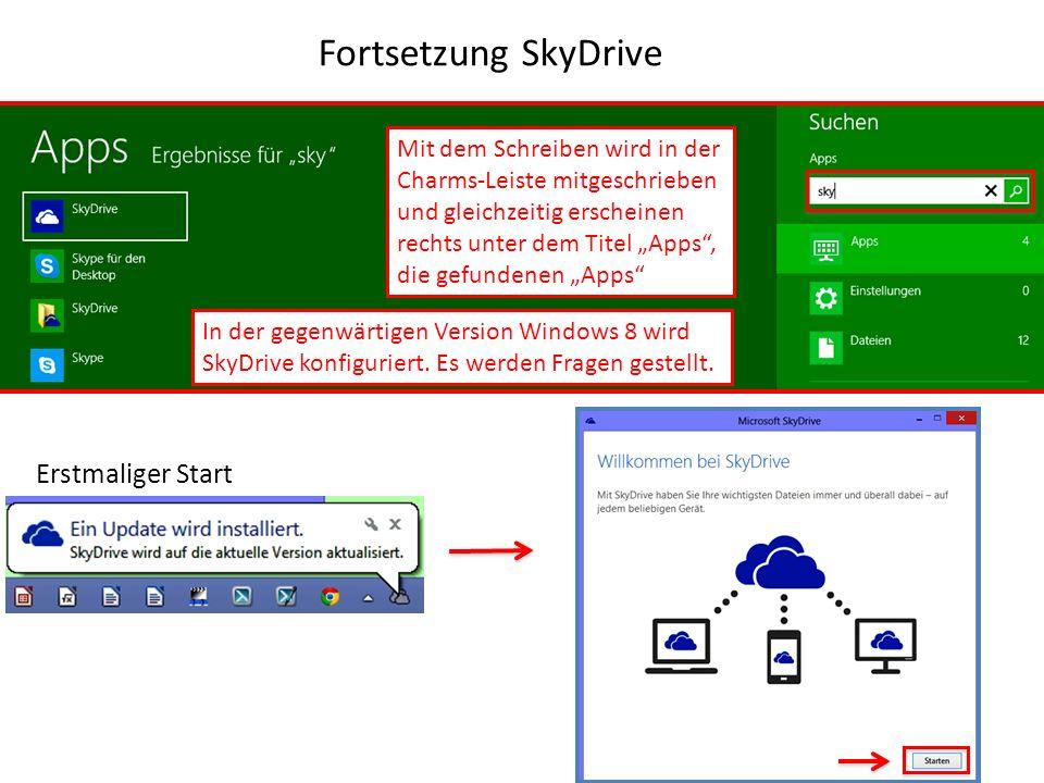Fortsetzung SkyDrive Mit dem Schreiben wird in der Charms-Leiste mitgeschrieben und gleichzeitig erscheinen rechts unter dem Titel Apps, die gefundene