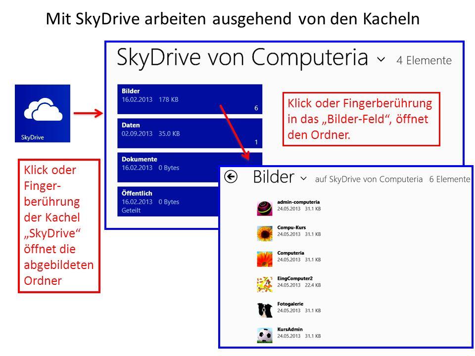 Mit SkyDrive arbeiten ausgehend von den Kacheln Klick oder Finger- berührung der Kachel SkyDrive öffnet die abgebildeten Ordner Klick oder Fingerberüh