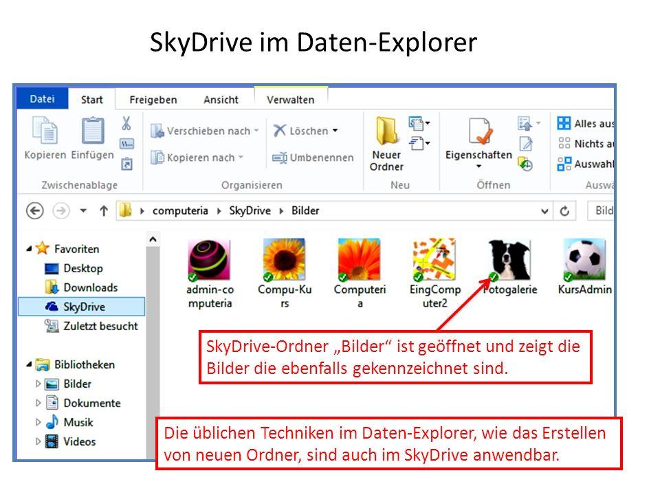 SkyDrive im Daten-Explorer SkyDrive-Ordner Bilder ist geöffnet und zeigt die Bilder die ebenfalls gekennzeichnet sind. Die üblichen Techniken im Daten