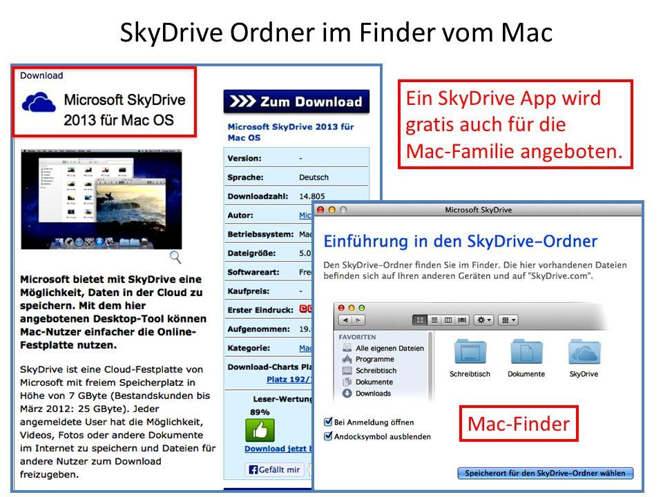 SkyDrive Ordner im Finder vom Mac Ein SkyDrive App wird gratis auch für die Mac-Familie angeboten. Mac-Finder
