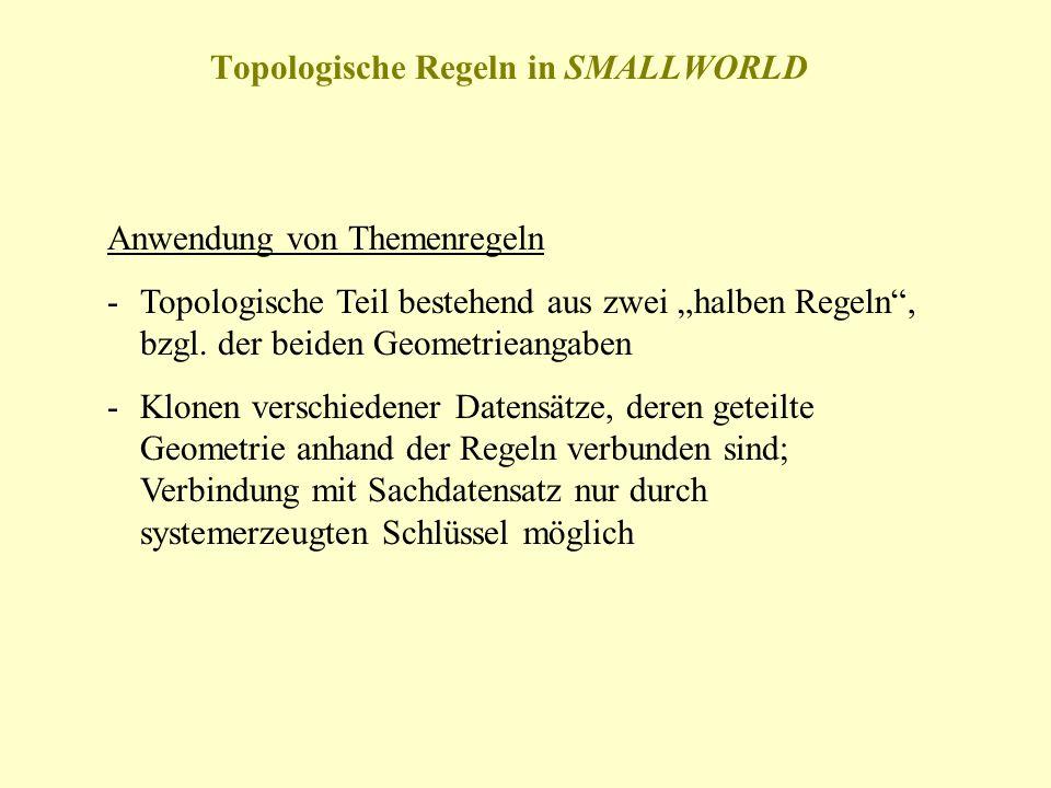 Topologische Regeln in SMALLWORLD Anwendung von Themenregeln -Topologische Teil bestehend aus zwei halben Regeln, bzgl. der beiden Geometrieangaben -K