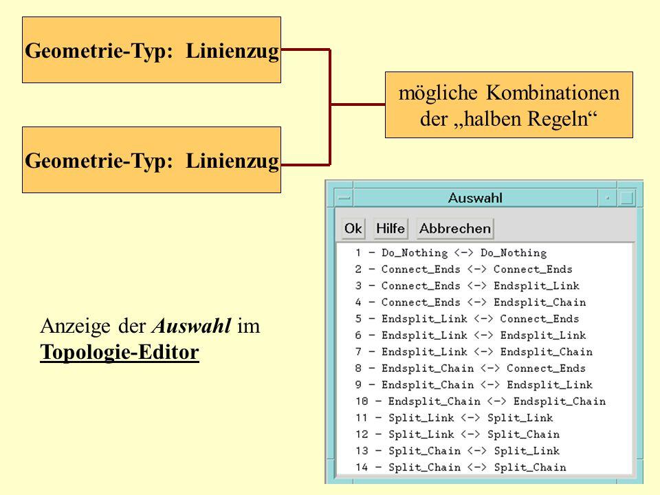 mögliche Kombinationen der halben Regeln Geometrie-Typ: Linienzug Anzeige der Auswahl im Topologie-Editor