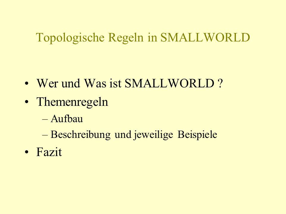 Topologische Regeln in SMALLWORLD Wer und Was ist SMALLWORLD ? Themenregeln – Aufbau – Beschreibung und jeweilige Beispiele Fazit