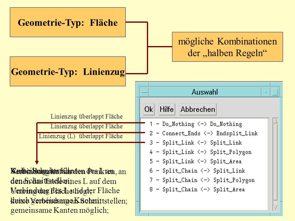 mögliche Kombinationen der halben Regeln Geometrie-Typ: Fläche Geometrie-Typ: Linienzug Aufteilung der Kanten des L an den Schnittstellen; Verbindung