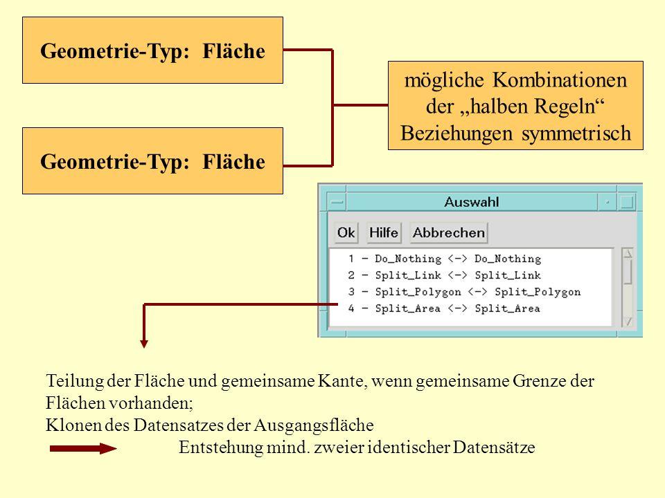mögliche Kombinationen der halben Regeln Beziehungen symmetrisch Geometrie-Typ: Fläche Teilung der Fläche und gemeinsame Kante, wenn gemeinsame Grenze