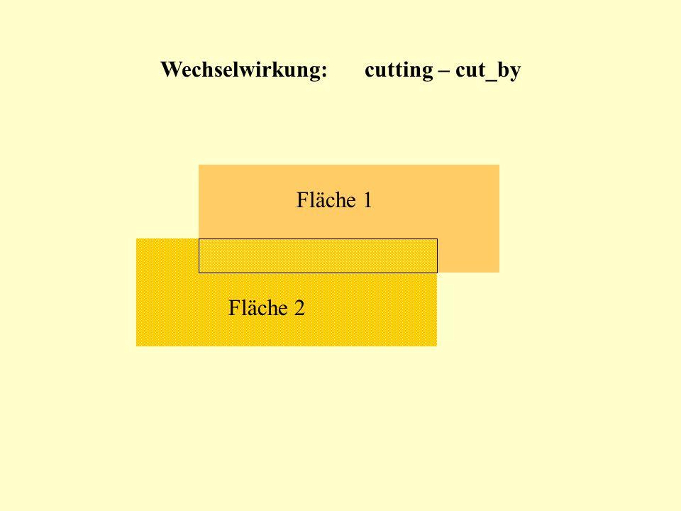 Wechselwirkung:cutting – cut_by Fläche 1 Fläche 2