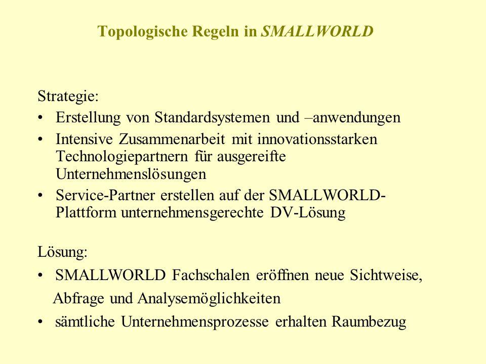 Topologische Regeln in SMALLWORLD Strategie: Erstellung von Standardsystemen und –anwendungen Intensive Zusammenarbeit mit innovationsstarken Technolo