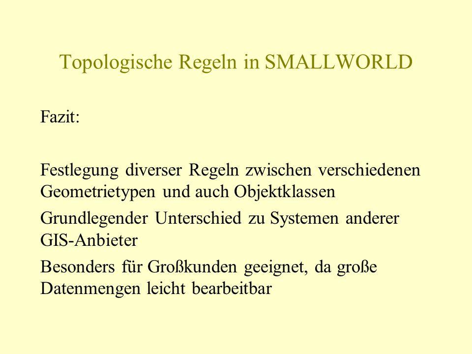 Topologische Regeln in SMALLWORLD Fazit: Festlegung diverser Regeln zwischen verschiedenen Geometrietypen und auch Objektklassen Grundlegender Untersc