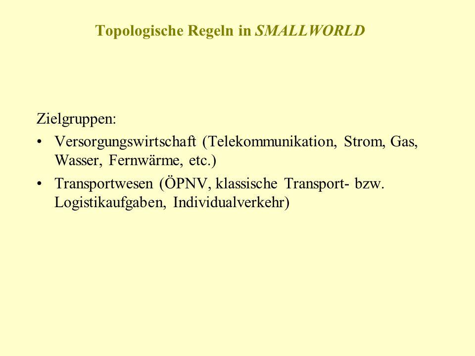 Topologische Regeln in SMALLWORLD Zielgruppen: Versorgungswirtschaft (Telekommunikation, Strom, Gas, Wasser, Fernwärme, etc.) Transportwesen (ÖPNV, kl