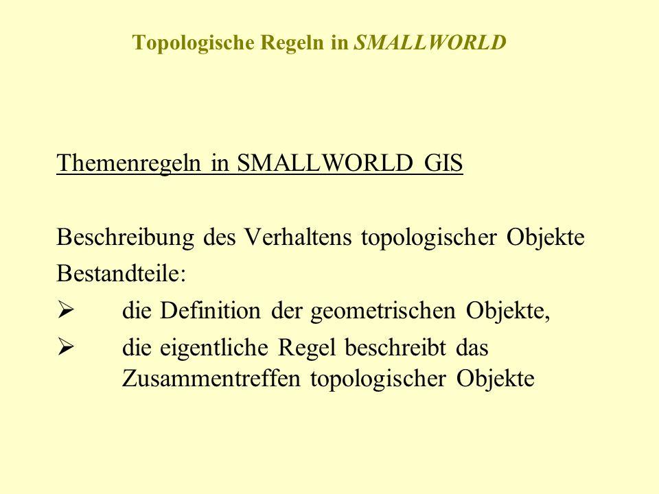 Topologische Regeln in SMALLWORLD Themenregeln in SMALLWORLD GIS Beschreibung des Verhaltens topologischer Objekte Bestandteile: die Definition der ge