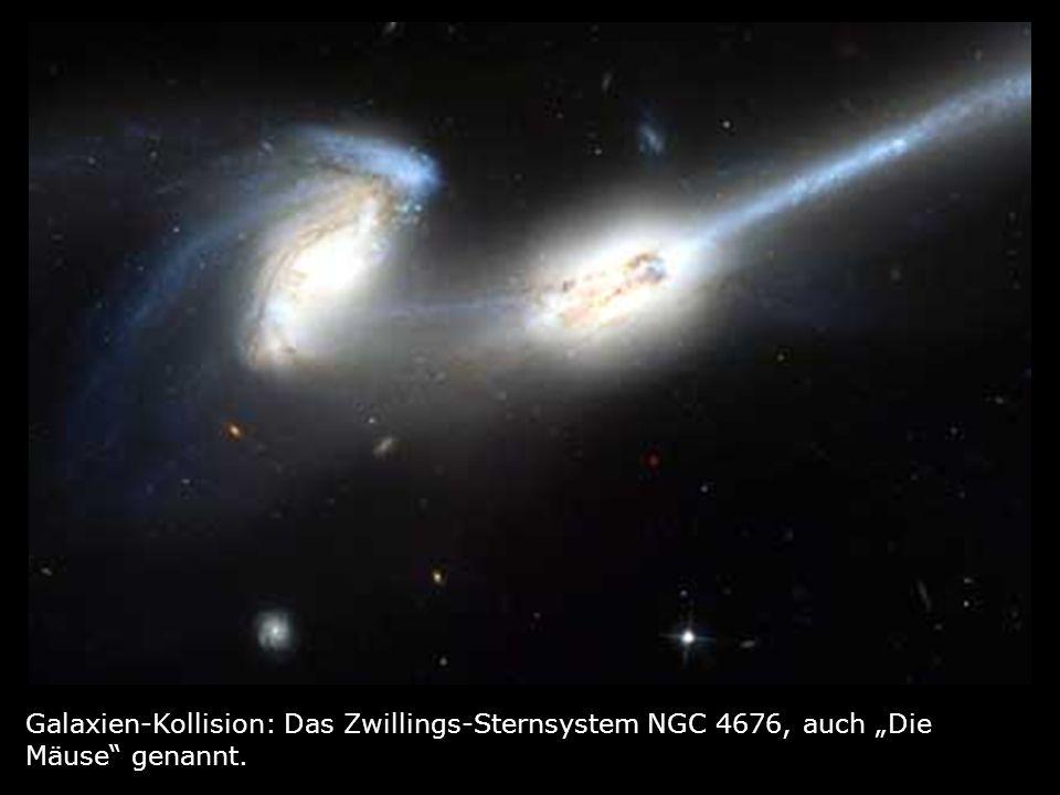 Galaxien-Kollision: Das Zwillings-Sternsystem NGC 4676, auch Die Mäuse genannt.