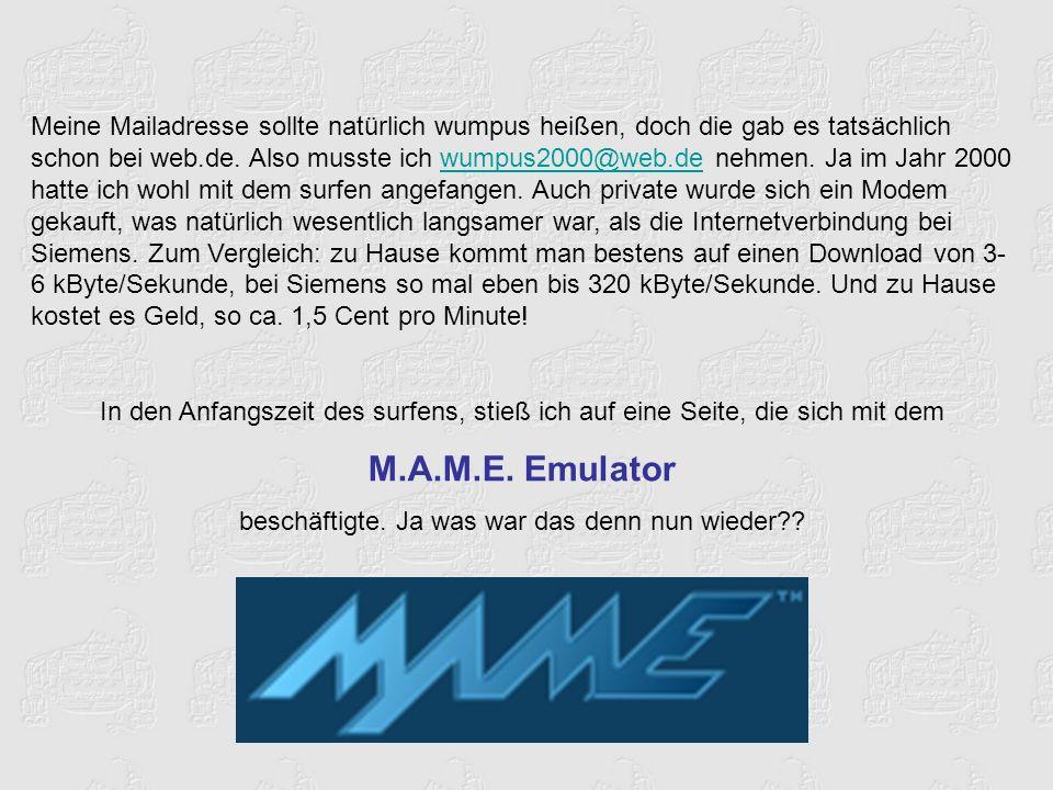 Meine Mailadresse sollte natürlich wumpus heißen, doch die gab es tatsächlich schon bei web.de.