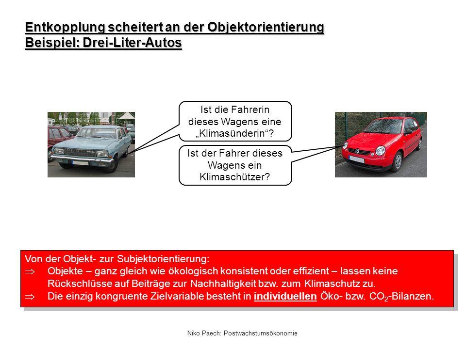 Niko Paech: Postwachstumsökonomie Entkopplung scheitert an der Objektorientierung Beispiel: Drei-Liter-Autos Ist der Fahrer dieses Wagens ein Klimasch