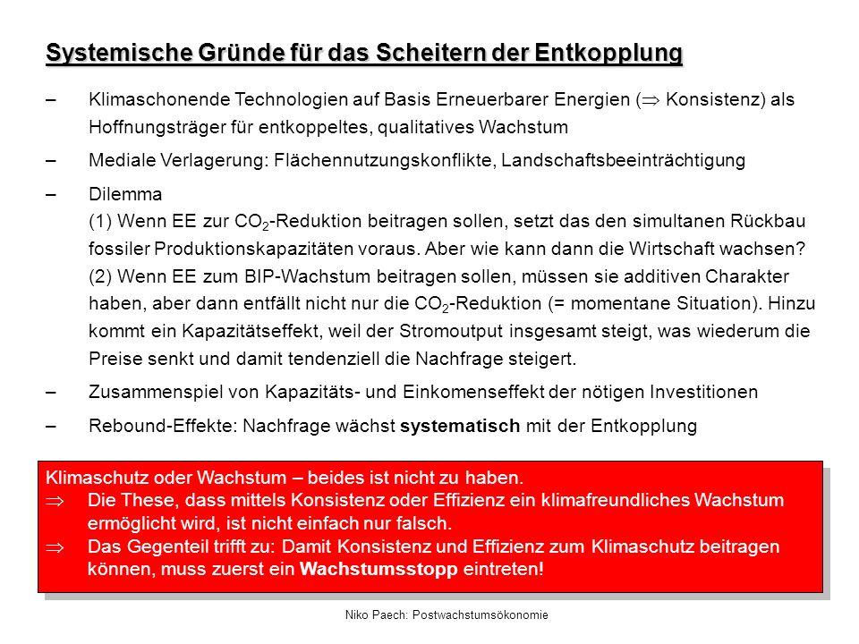 Niko Paech: Postwachstumsökonomie Systemische Gründe für das Scheitern der Entkopplung –Klimaschonende Technologien auf Basis Erneuerbarer Energien (