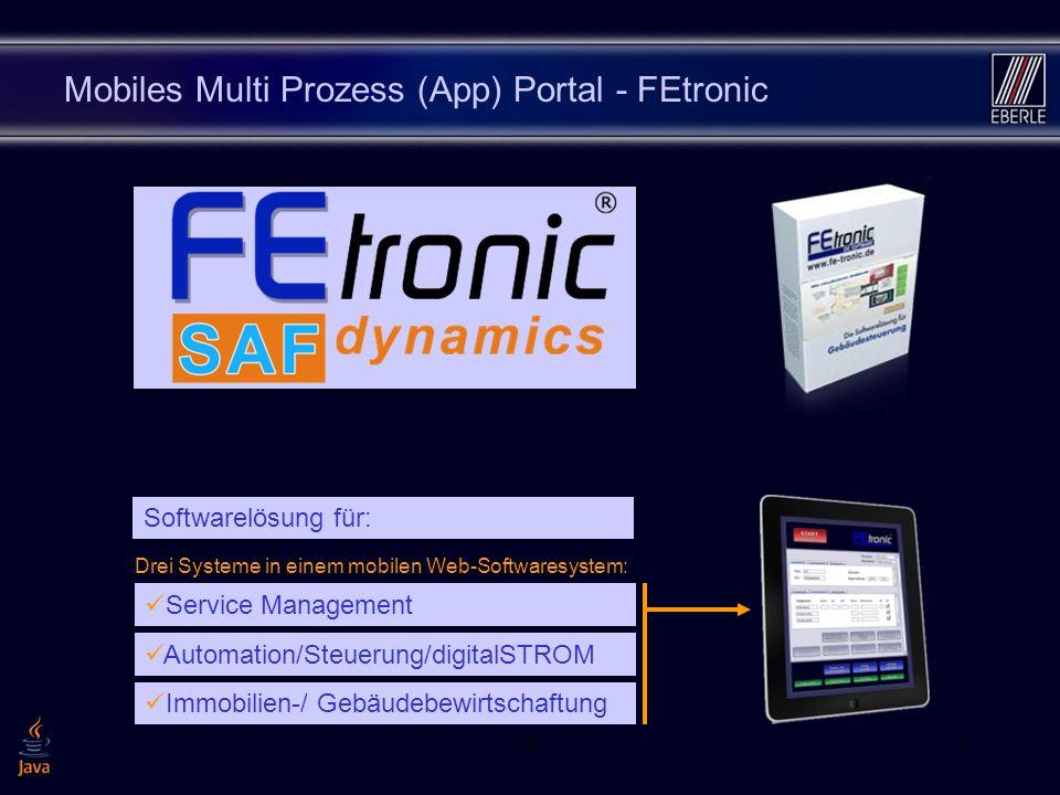 163 Mobiles Multi Prozess (App) Portal - FEtronic Service Management Drei Systeme in einem mobilen Web-Softwaresystem: Automation/Steuerung/digitalSTROM Immobilien-/ Gebäudebewirtschaftung Softwarelösung für: