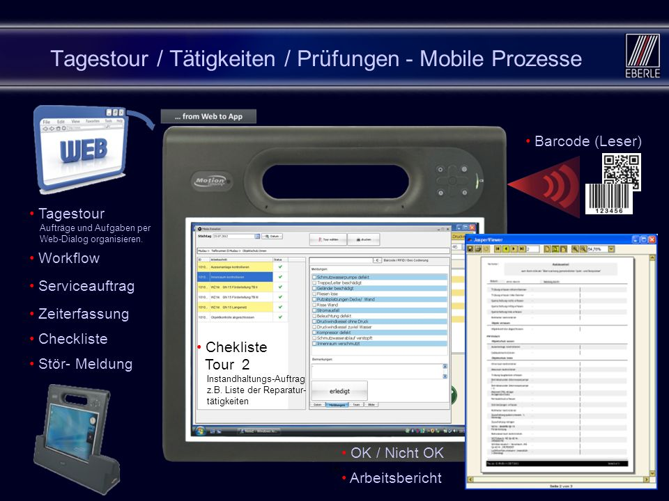166 Tagestour / Tätigkeiten / Prüfungen - Mobile Prozesse Tagestour Aufträge und Aufgaben per Web-Dialog organisieren. Workflow Barcode (Leser) RFID (