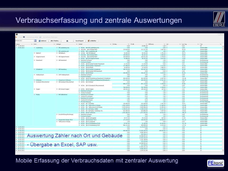 168 Verbrauchserfassung und zentrale Auswertungen Auswertung Zähler nach Ort und Gebäude - Übergabe an Excel, SAP usw. Mobile Erfassung der Verbrauchs