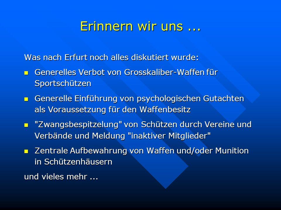 Erinnern wir uns... Was nach Erfurt noch alles diskutiert wurde: Generelles Verbot von Grosskaliber-Waffen für Sportschützen Generelles Verbot von Gro