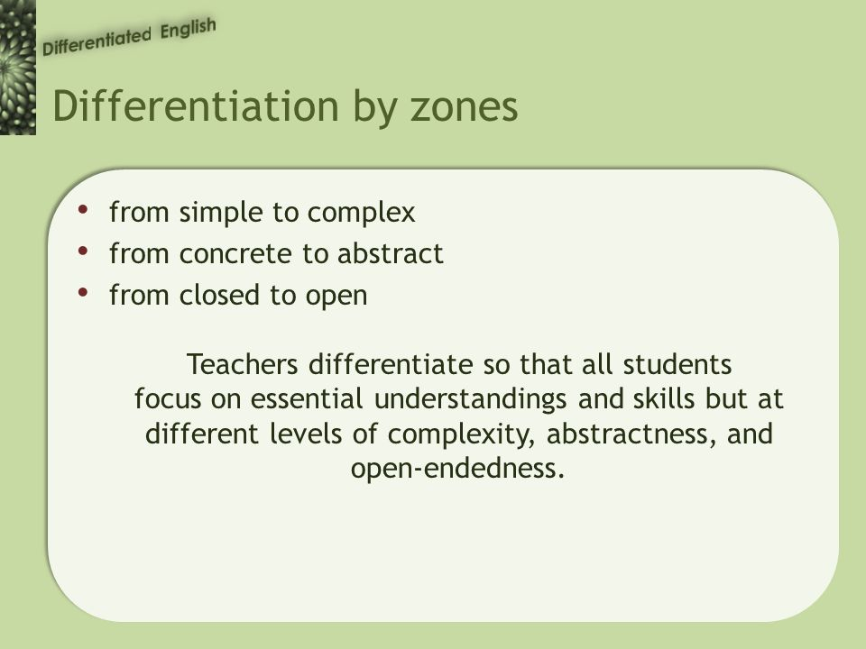 Differentiation by zones from simple to complex from concrete to abstract from closed to open Teachers differentiate so that all students focus on essential understandings and skills but at different levels of complexity, abstractness, and open-endedness.