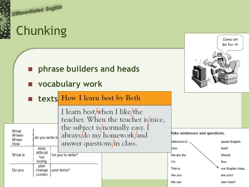 Chunking phrase builders and heads vocabulary work texts