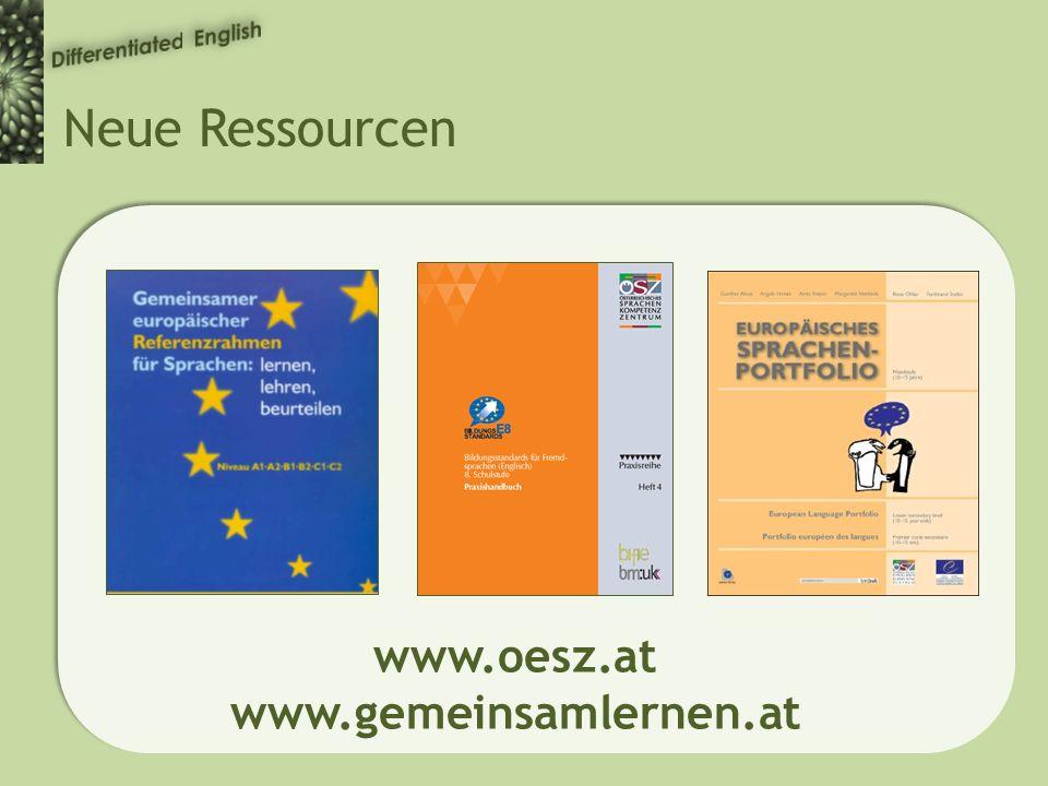 Neue Ressourcen www.oesz.at www.gemeinsamlernen.at
