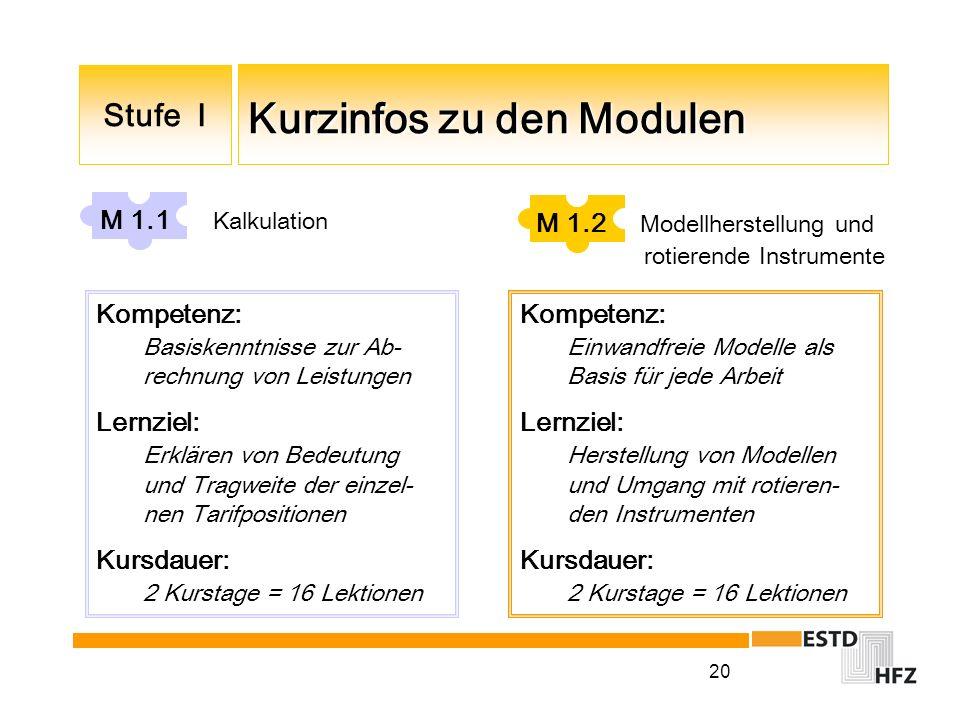 20 Kurzinfos zu den Modulen Stufe I M 1.1 Kalkulation Kompetenz: Basiskenntnisse zur Ab- rechnung von Leistungen Lernziel: Erklären von Bedeutung und