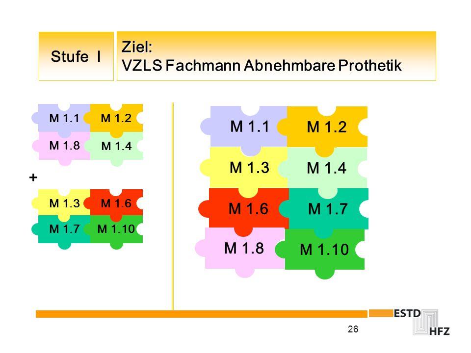 26 Ziel: VZLS Fachmann Abnehmbare Prothetik M 1.8 M 1.4 M 1.1M 1.2 M 1.3 M 1.6 M 1.1M 1.2 M 1.8 Stufe I M 1.7 M 1.4 M 1.10 M 1.3 M 1.6 + M 1.7M 1.10
