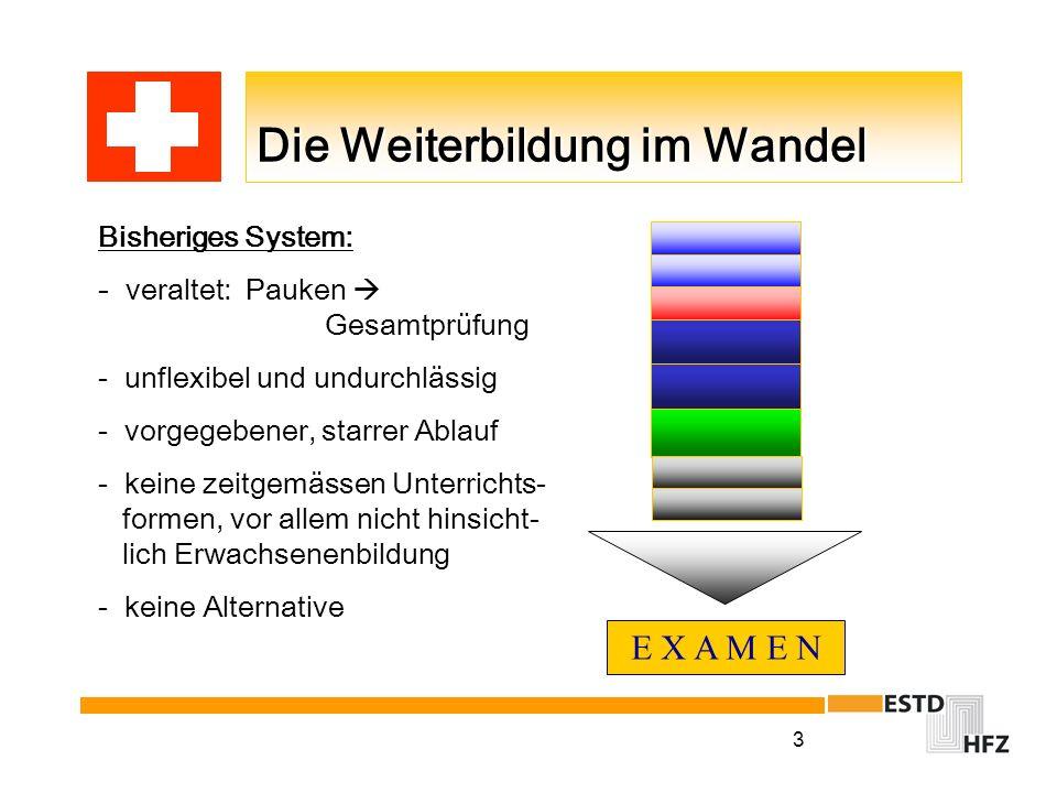 3 Die Weiterbildung im Wandel E X A M E N Bisheriges System: - veraltet: Pauken Gesamtprüfung - unflexibel und undurchlässig - vorgegebener, starrer A