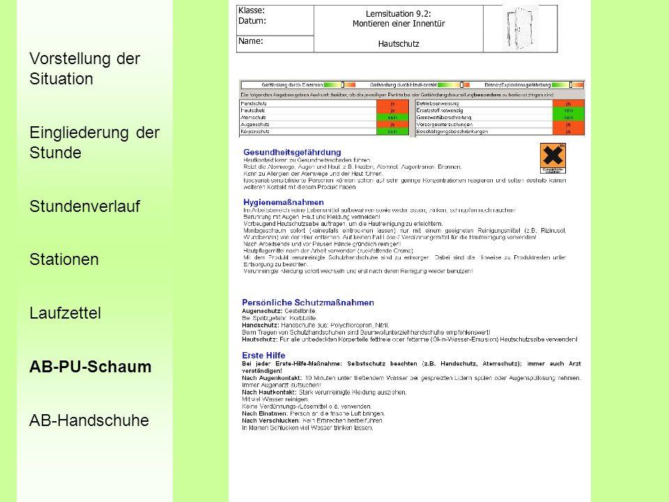 Vorstellung der Situation Eingliederung der Stunde Stundenverlauf Stationen Laufzettel AB-PU-Schaum AB-Handschuhe