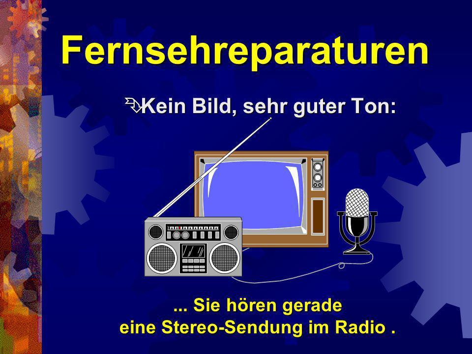 Fernsehreparaturen Kein Bild, normaler Ton: Kein Bild, normaler Ton:... Sie sitzen vor der Rückwand Ihres Fernsehgerätes.