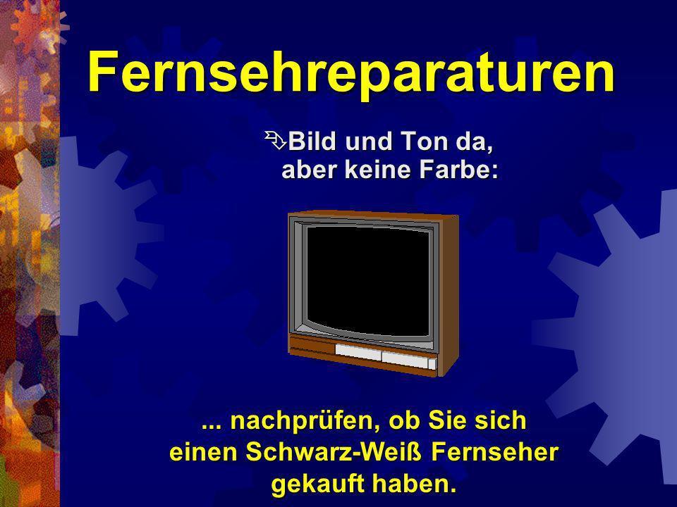 Fernsehreparaturen Kein Bild, kein Ton, Fernseher aber eingeschaltet: Kein Bild, kein Ton, Fernseher aber eingeschaltet:... Netzstecker ist heraus gef